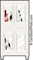 bookcase - Front view vector illustration of a bookcase...