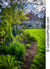 Garden and the Pittock Mansion, at Pittock Acres Park, in...