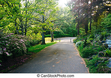 Gardens along a walkway outside the Pittock Mansion, in...