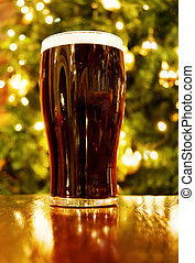 Irish Christmas with pint of black beer - Celebrating...