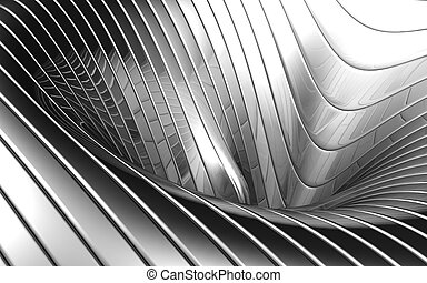 Abstract aluminum wave pattern background 3d illustration
