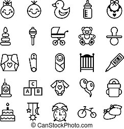 Icons set baby and accessories