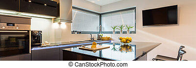 Luxurious silver kitchen - Elegant kitchen and dining space...