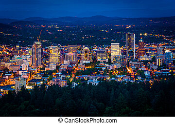 View of the Portland skyline at night, from Pittock Acres Park, in Portland, Oregon.