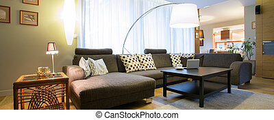 Living room in modern designed - Panorama of living room in...