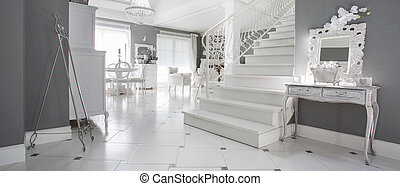 Luxury white entrance hall - Panoramic view of luxury white...