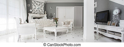 Luxury style family room - Panorama of luxury vintage style...