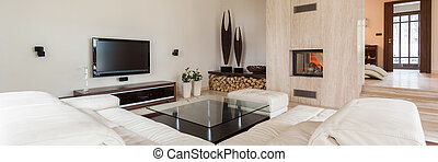 Luxury and modern living room - Panorama of luxury and...