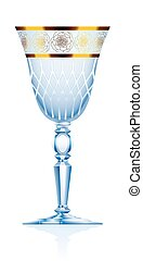 Goblet Blue Crystal Glass - Crystal glass or goblet with...