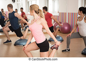 Exercise with bosu balance trainer - Gym people doing...