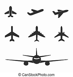 Set of airplane icon on white background