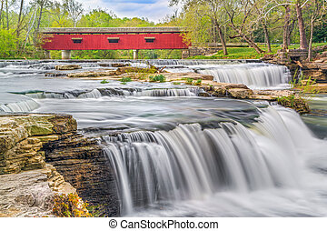 Red Covered Bridge and Whitewater - The historic red...