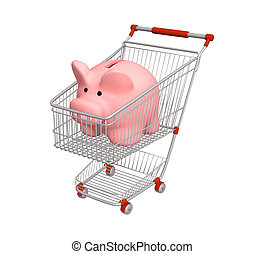 Shopping - Piggy bank in shopping cart