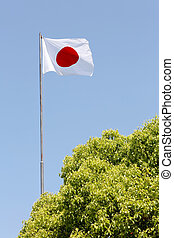 Japanese flag in wind against clear blue sky