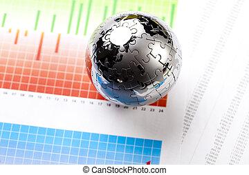 Money and Diagram, bright colorful tone concept