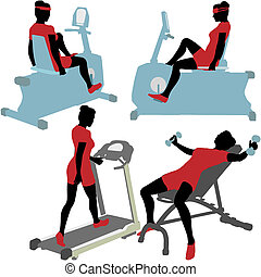 Women on gym fitness exercise machines - Fitness women in...