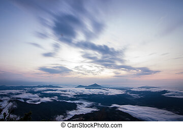 daybreak scene with mountain and movement cloudy at Pha...