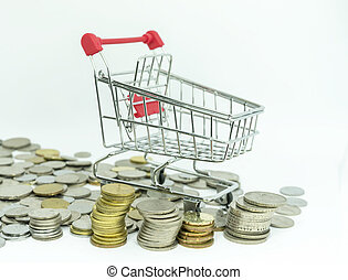 Trolley and coins - Coins and trolley with white background