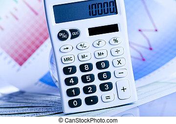 Calculator and diagram, bright colorful tone concept