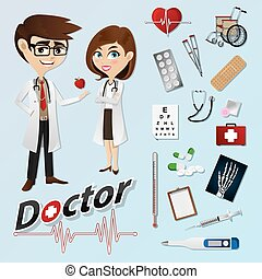 cartoon doctor with medical instruments - illustration of...