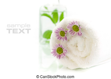 Towel with flowers - Towel, flowers and jar with fresh...