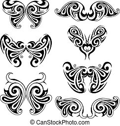 Set of wing shapes - Various wing shapes for emblems and...