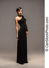 Fashion image of asian woman - Full length photo of an...