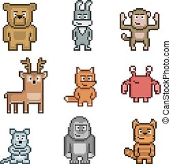Pixel art collection of animals