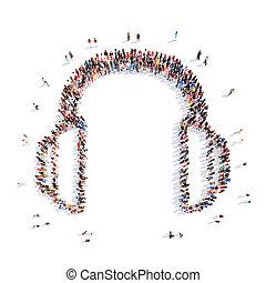 pessoas, representando, a, headphones.,