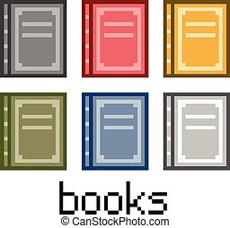 Pixel set books - Pixel art set books for game and design