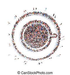 pessoas, representando, Um, copo, de, coffee.,