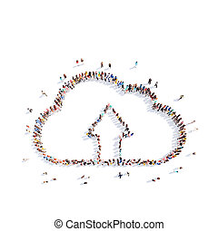 people in the form of clouds - Large group of people in the...