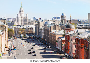 above view of Lubyanka and Novaya Square in Moscow