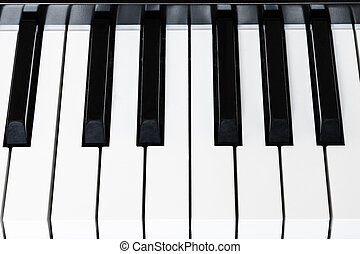 above view black and white keys of digital piano - above...