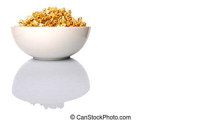 Caramel Popcorn In White Bowl - Caramel popcorn in white...