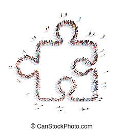 people in the shape of a puzzle. - A large group of people...