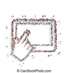 people in the shape of a tablet with cursor. - A large group...
