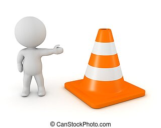 3D Character Showing Orange Cone - A 3D character showing an...