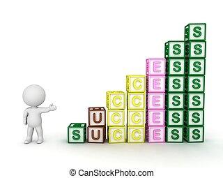 3D Guy & stack of success blocks