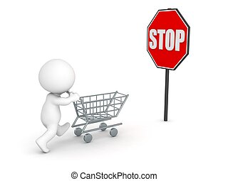 3D Character with cart and stop - A 3D character running...