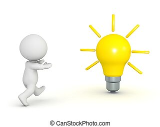 3D, personagem, Executando, Para, lightbulb,