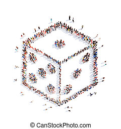 people in the shape of dice. - A large group of people in...