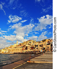 Old Jaffa seaport at sunset - Tel Aviv, Israel. Old Jaffa...