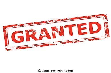 Granted - Rubber stamp with word granted inside, vector...