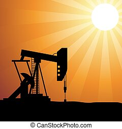 Oil well silhouette on sunset - Vector illustration of oil...