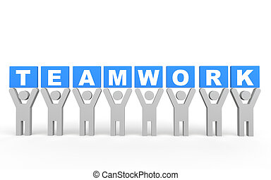 3d men teamwork concept