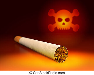 Skull and cigarette 3d Illustration of anti-smoking concept...