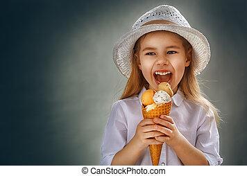 eating ice cream - little girl eating ice cream