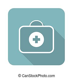 Medical kit icon - Square icon with image of medical kit,...