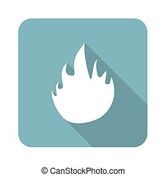 Flame icon - Square icon with image of flame, isolated on...